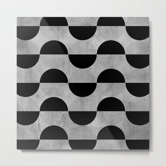 Black abstract 60s circles on concrete -Mix&Match with Simplicty of life Metal Print