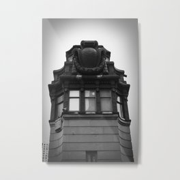 Black and White Top of Chicago River Boat House Photography Metal Print
