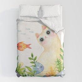 The Aquarium Cat Duvet Cover