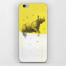 rinhoceros on yellow iPhone Skin