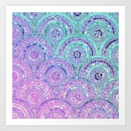 Aqua Blue Purple and Pink Sparkling Glitter Circles Art Print