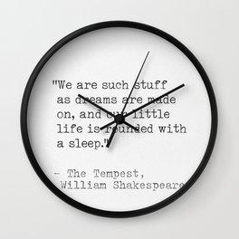 William Shakespeare Literary quote Wall Clock