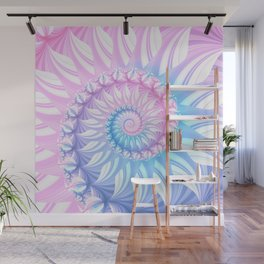 Striped Pastel Spiral in Pink, Blue and Purple Wall Mural