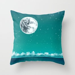 The moon, the stars, and the sea Throw Pillow