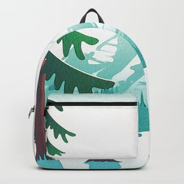 View from 217 - Vintage Inspired Mid Century Style Watercolor Landscape Snow Mountain Backpack