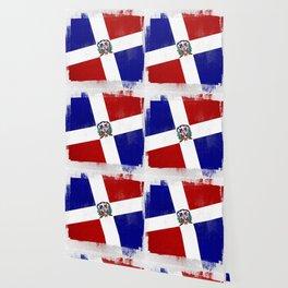 Dominican Republic Distressed Halftone Denim Flag Wallpaper
