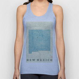 New Mexico State Map Blue Vintage Unisex Tank Top
