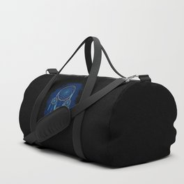 Dreamcatcher Turquoise: Blue background Duffle Bag