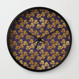 Dark Purple Gold Rose Wall Clock