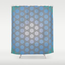 Hexagonal Dreams - Periwinkle/Turquoise gradient Shower Curtain