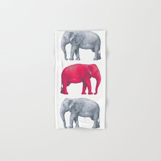 Elephants Red II Hand & Bath Towel
