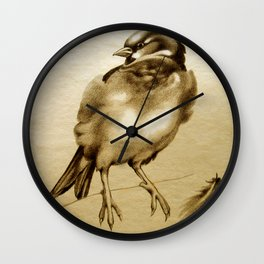 Sparrow With Feather Wall Clock