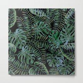 Tropical Night Palm Monstera Garden Metal Print