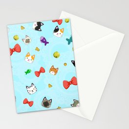 Cat Pattern Cyan Stationery Cards