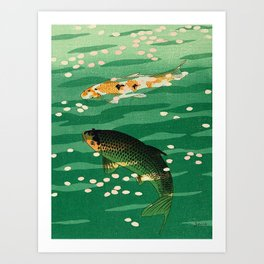 Vintage Japanese Woodblock Print Asian Art Koi Pond Fish Turquoise Green Water Cherry Blossom Art Print