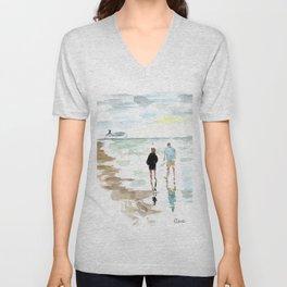 Beach Walk Unisex V-Neck
