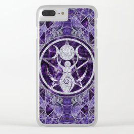 Triple Moon - Goddess -Amethyst and Silver Clear iPhone Case