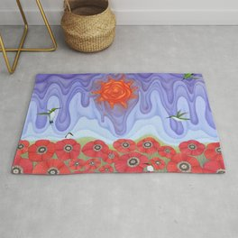 molten sunrise with hummingbirds and poppies Rug