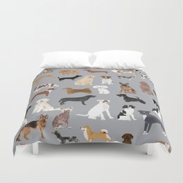 Mixed Dog lots of dogs dog lovers rescue dog art print pattern grey poodle shepherd akita corgi Duvet Cover