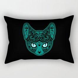 Blue Day of the Dead Sugar Skull Cat Rectangular Pillow
