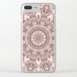 Pink marble kaleidoscope, ornament elements print Clear iPhone Case