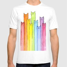 Cat Rainbow Watercolor Whimsical Animals Cats Pattern X-LARGE White Mens Fitted Tee