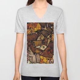 """Egon Schiele """"Krumau - Crescent of Houses (The small City V)"""" Unisex V-Neck"""