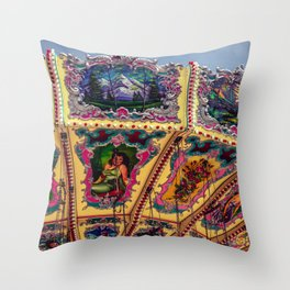 Wisconsin State Fair Swing Carousel Amusement Decorative Painted Carnival Ride Throw Pillow