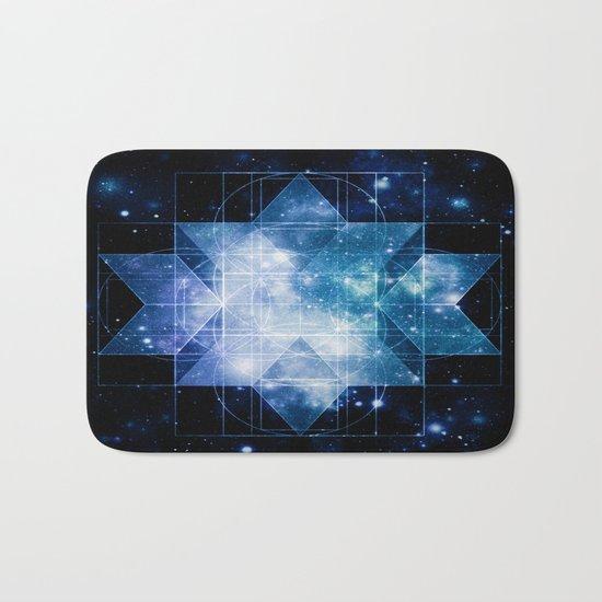 galaxy sacred geometry Turquoise Teal Bath Mat