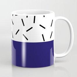 Navy and Black-and-White Bar Two-Tone Coffee Mug