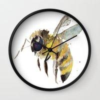 craftberrybush Wall Clocks featuring Watercolor bee  by craftberrybush