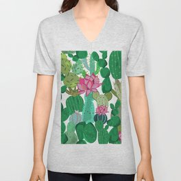 Cactus and Succulent Tropical Flowers Pattern Unisex V-Neck