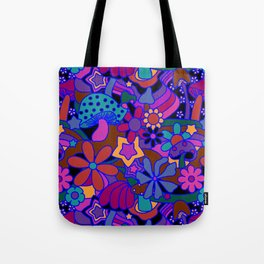 70's Psychedelic Garden in Cool Jeweltone Tote Bag