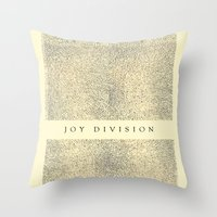 joy division Throw Pillows featuring joy division by ░░░░░░░░░░░░