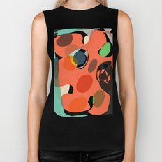 Abstract Shapes Pattern Be Kind Biker Tank