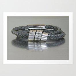 Personalized Mens GPS Latitude Longitude Coordinates Leather Bracelet, Custom Leather Wrist Band Art Print