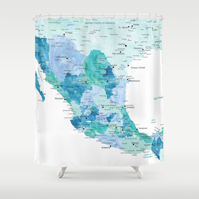 Detailed map of Mexico with states, aquamarine blue Shower Curtain ...