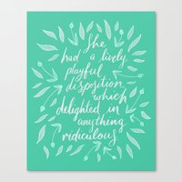 pride and prejudice Canvas Prints featuring Pride and Prejudice by IndigoEleven