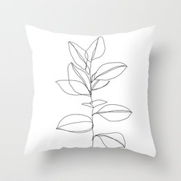 One line plant illustration - Dany Throw Pillow