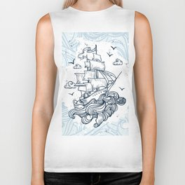 Hand drawn boat with waves background Biker Tank