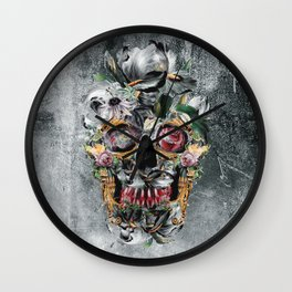 Skull on old grunge III Wall Clock