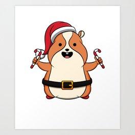 Cute Hamster Merry Christmas Candy Kids Gift Idea Art Print