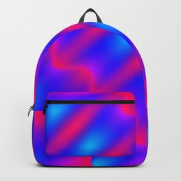Bright pattern of blurry blue and pink lines and curly patterns. Backpack