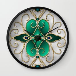 Filigree in teal and gray Wall Clock