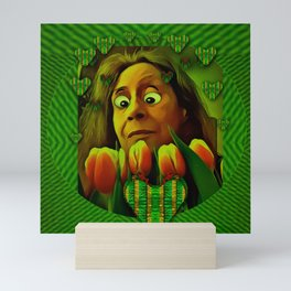 lady cartoon love her tulips in peace Mini Art Print