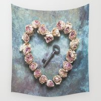 key Wall Tapestries featuring The key to your heart by Maria Heyens