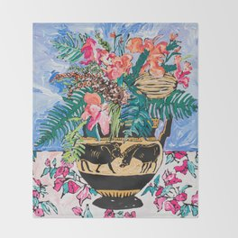 Tropical Banksia Bouquet after Matisse in Greek Boar Urn on Pale Painterly Blue Throw Blanket