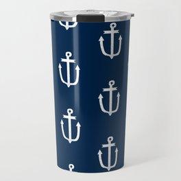 Anchor nautical navy and white modern trendy basic pattern print anchors pattern Travel Mug