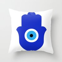 evil eye Throw Pillows featuring Evil Eye by Marcaccini Studios