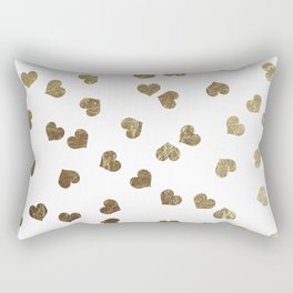 Glamorous Faux Gold Hearts Pattern Rectangular Pillow